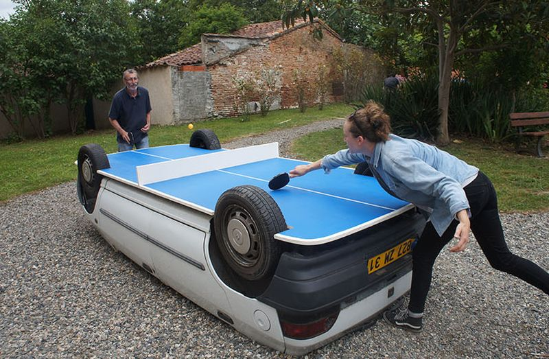 Upturned Car Ping Pong Table