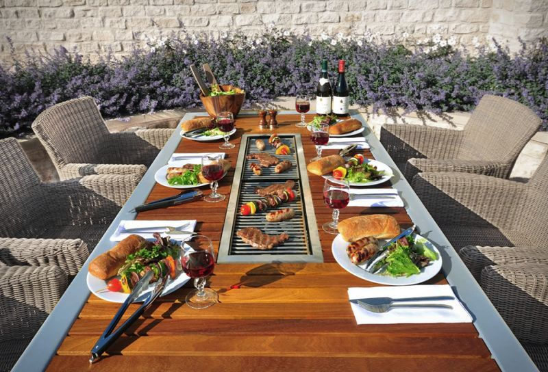 Angara Maximus Dining Table With Built In Grill At The Center