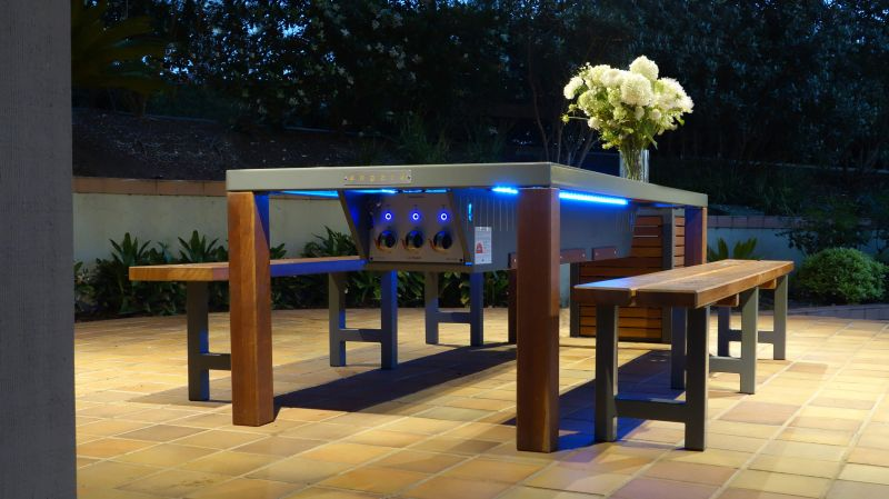 Angara Maximus outdoor dining table with built-in gas barbeque grill