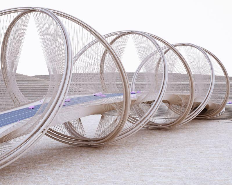 Penda designs converging helix-shaped rings into San Shan Bridge