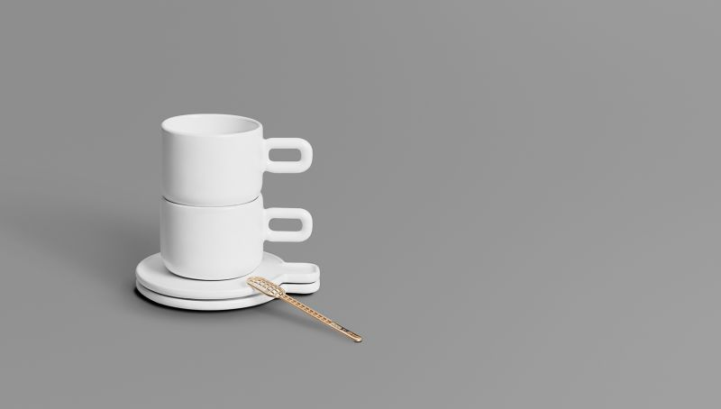 The trendy tea set and spoon created with 3D-printing at Othr