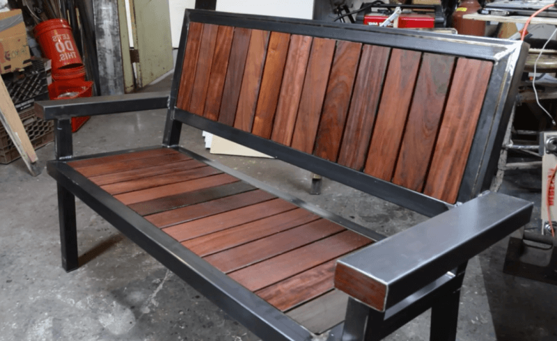 Steel and Wood Bench by Jimmy Diresta