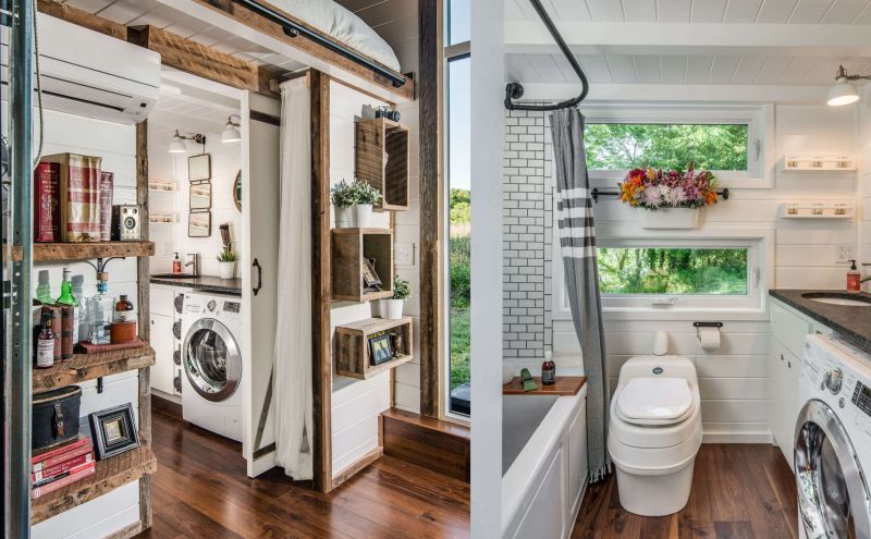 Spacious bathroom with shower and composting toilet