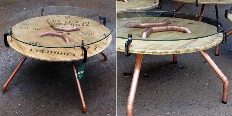 Into Industrially Chic Coffee Table, Wooden Wire Spool Coffee Table