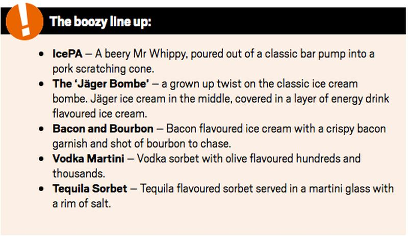 Five type of boozy flavored ice cream being served
