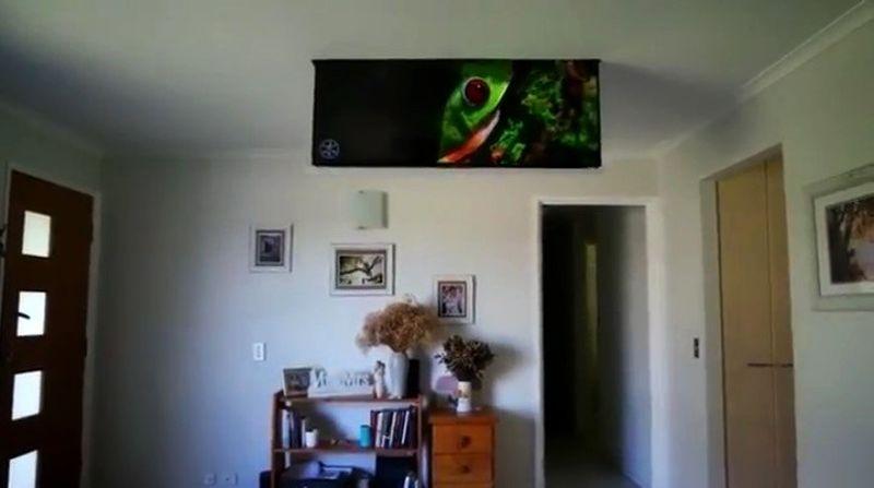 Ceiling drop down TV