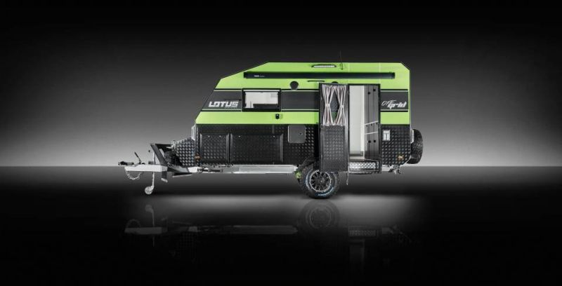 Attach your Lotus Off Grid caravan with any vehicle and go off road luxuriously