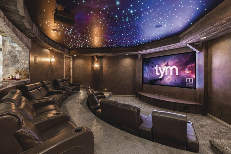Mine shaft-themed home theater