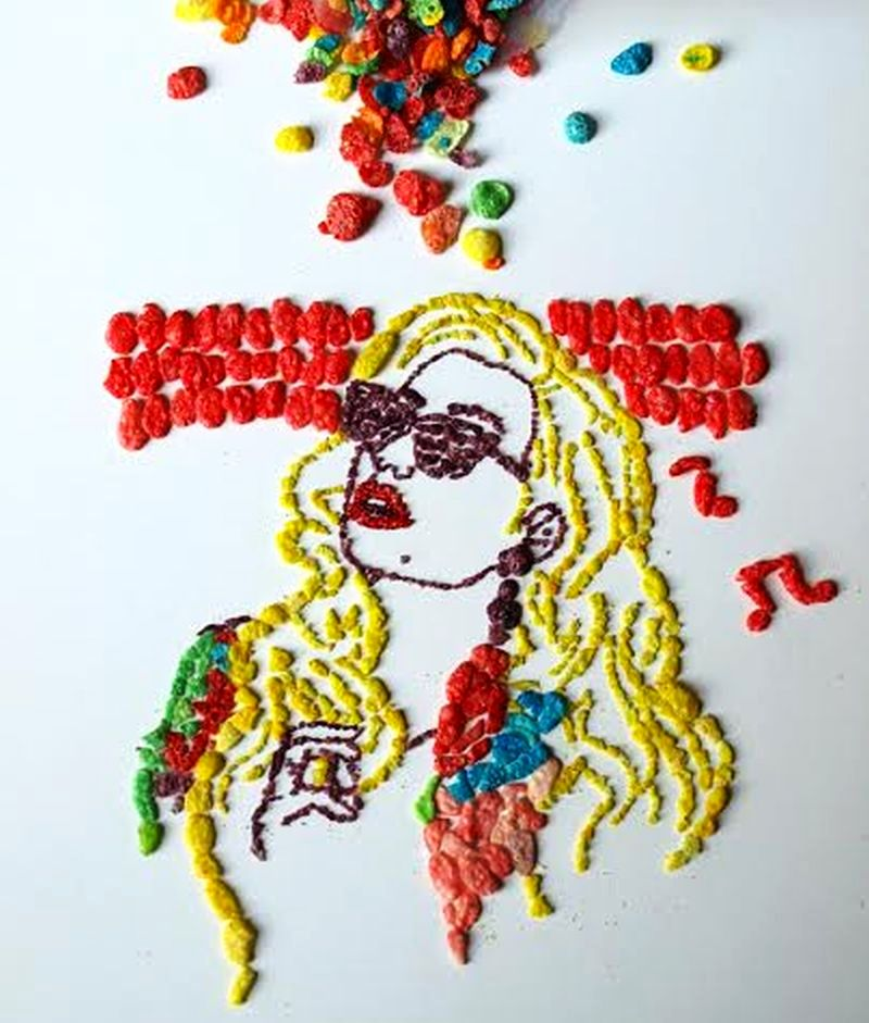 Sarah Rosado uses con flakes to create portraits of musicians