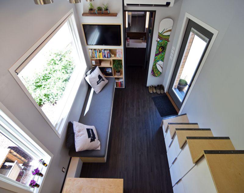 Dark wooden floor with light accented walls