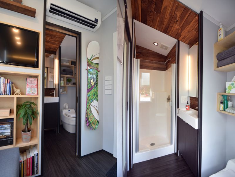 Despite less ceiling size the bathroom works well