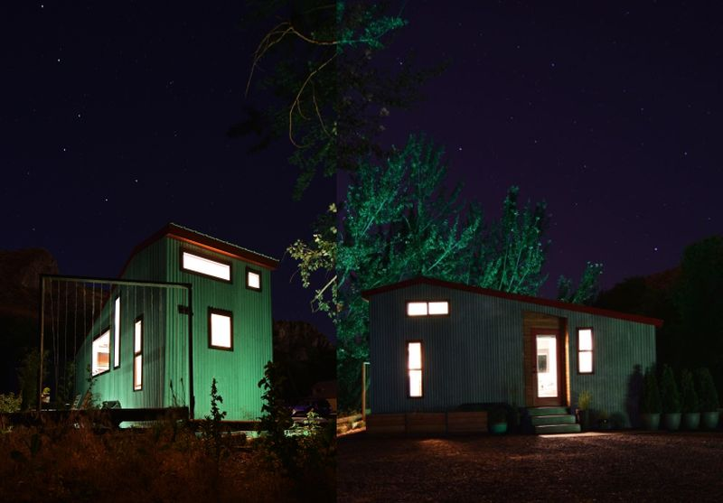 Night view of Shed tiny house