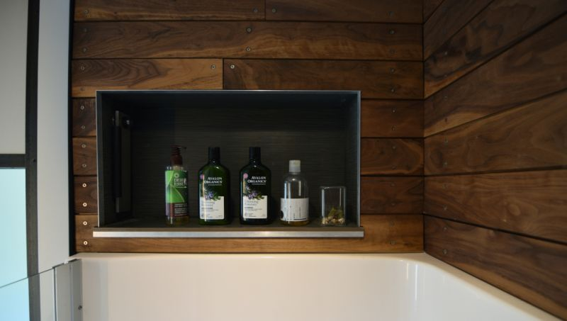 Special place for wine bottles and glasses