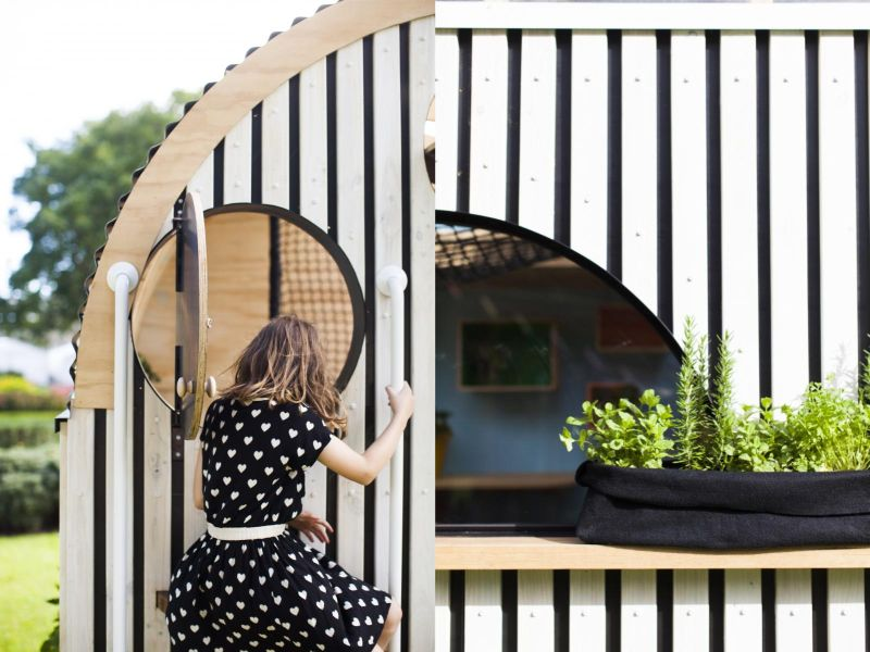 A number of round doors and windows to maximise playfulness of the Vardo Hut