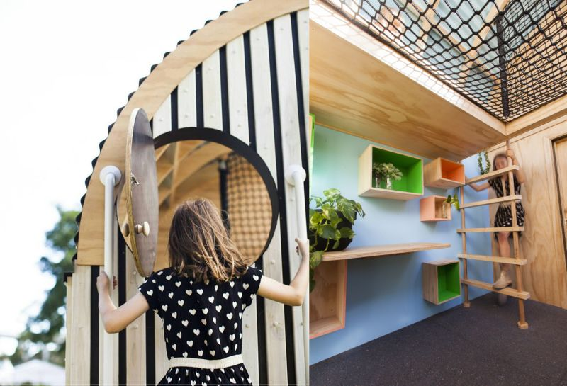 A ladder inside the playhouse leads to the upside loft