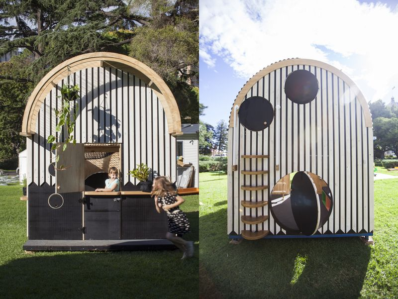 Different sizes of entries at fromt and backside of playhouse to make it more interesting for kids