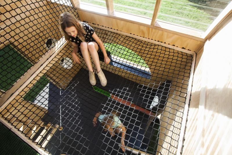An upside loft with a net for relaxation and other plays