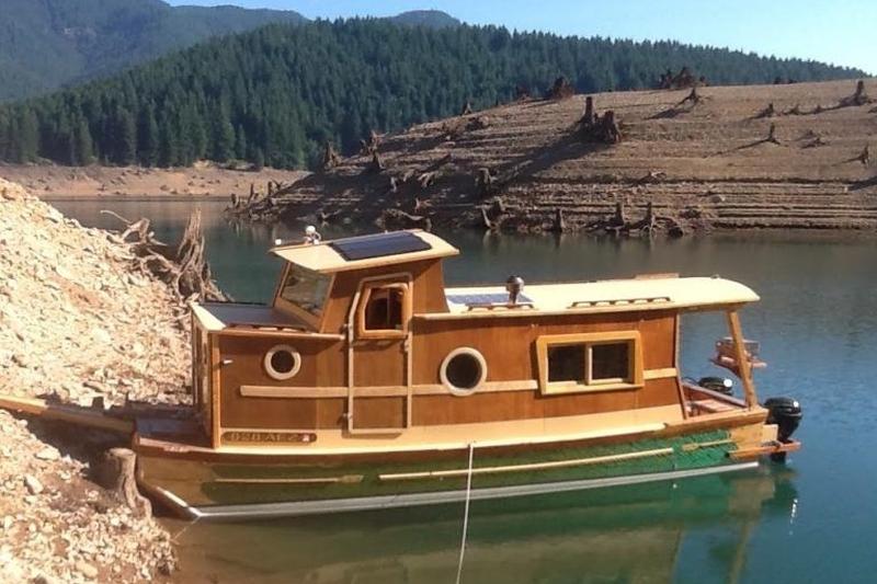 Solar-powered houseboat