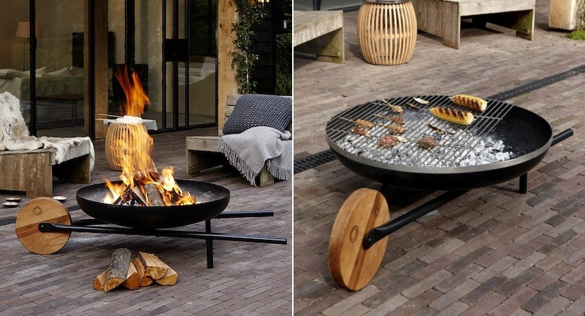 Doubles as a fire pit and barbecue