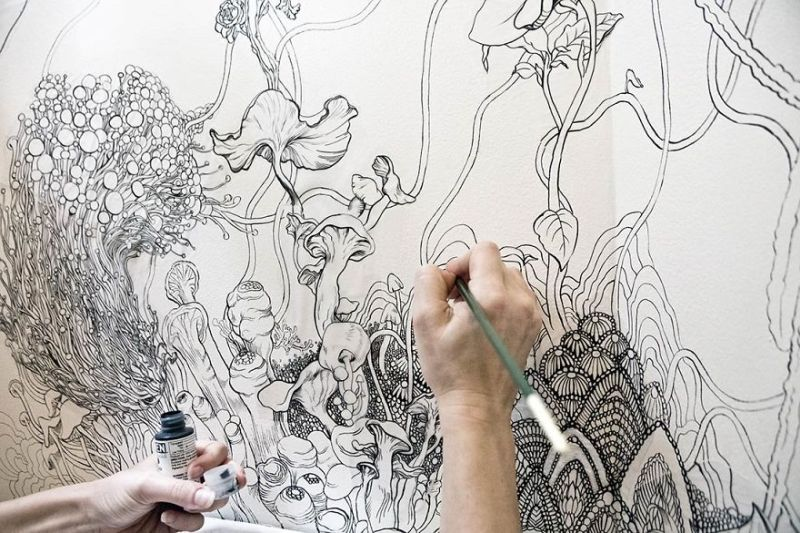Fashion designer uses her drawings for magical bathroom makeover
