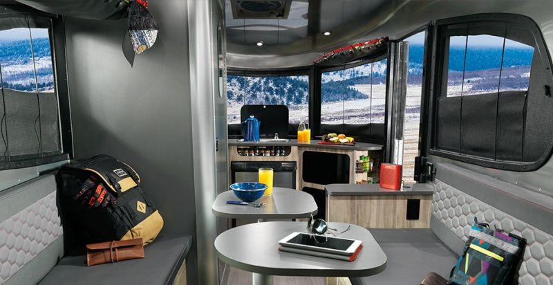 Airstream Basecampis a shiny aluminum trailer with luxurious features