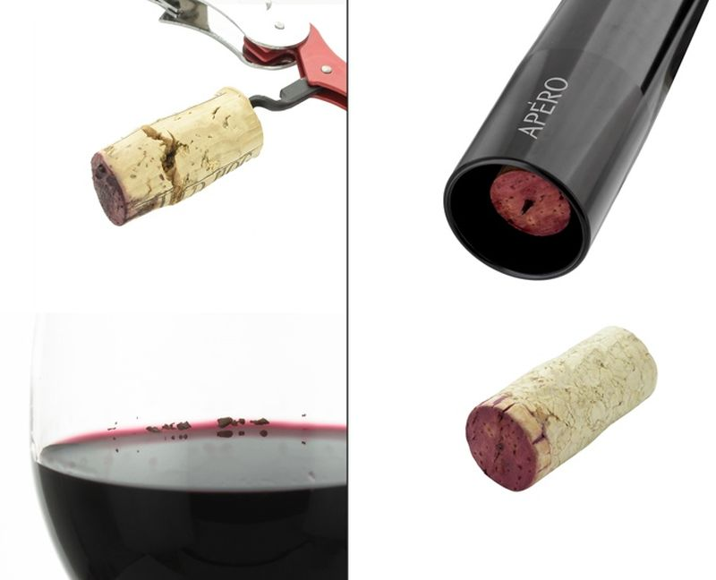 Opens a bottle without damaging the cork
