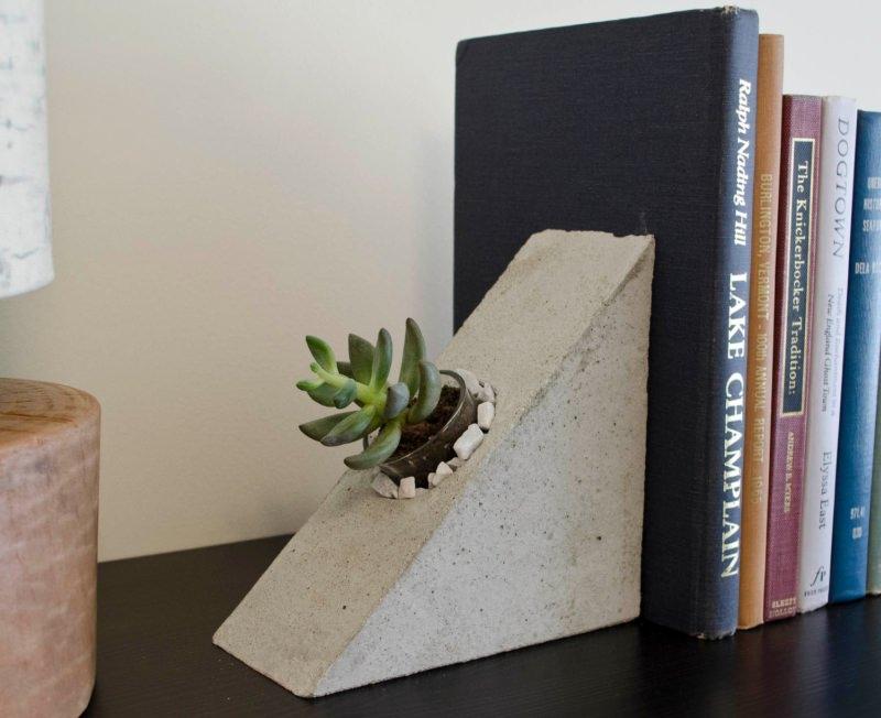 Bookend Concrete Planter