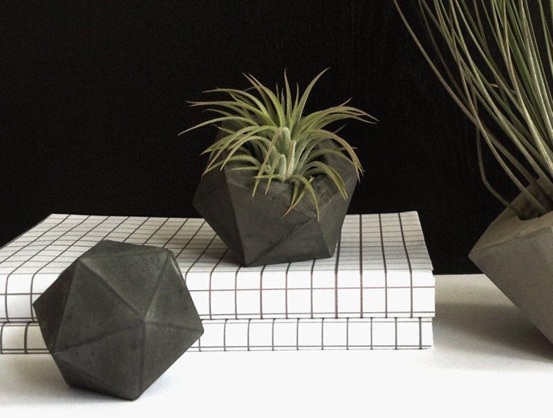 Concrete Icosahedron Planter