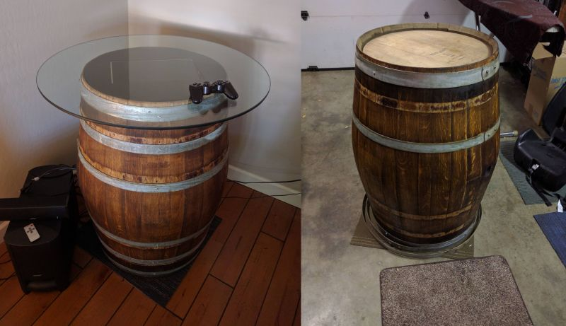 DIY RetroPie Arcade table made from old wine barrel