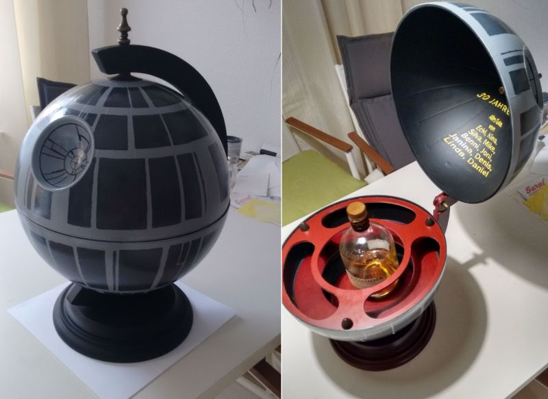 DIY Star Wars Death Star Globe Bar