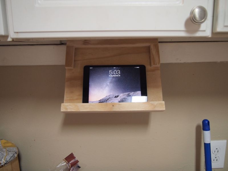 DIY iPad holder under kitchen cabinet