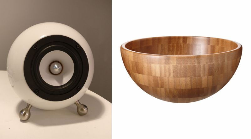 DIY spherical speakers made out of Ikea salad bowls