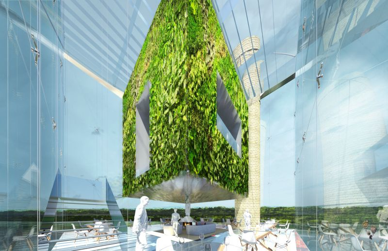 Another glass-cube with green imagery inside