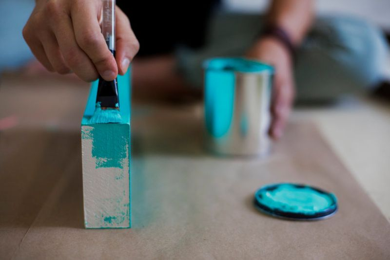 Cut pieces of wood and paint them in your favorite color