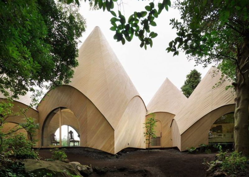 Issei Sumo designs tipi house from wooden panels_2