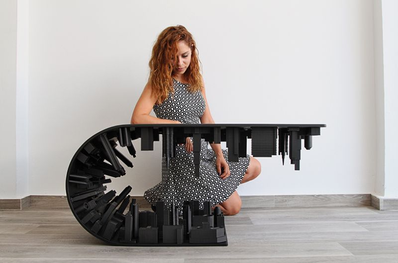 Matte Black Wave City Coffee Table by Stelois Mousarris