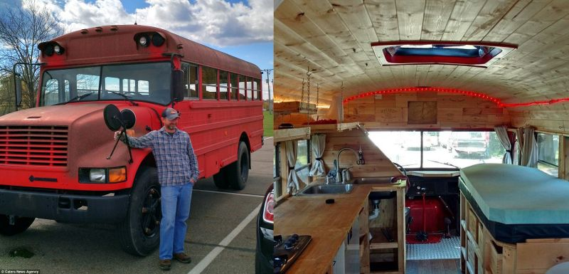 Pipe fitter turned red school bus into a living space on wheels