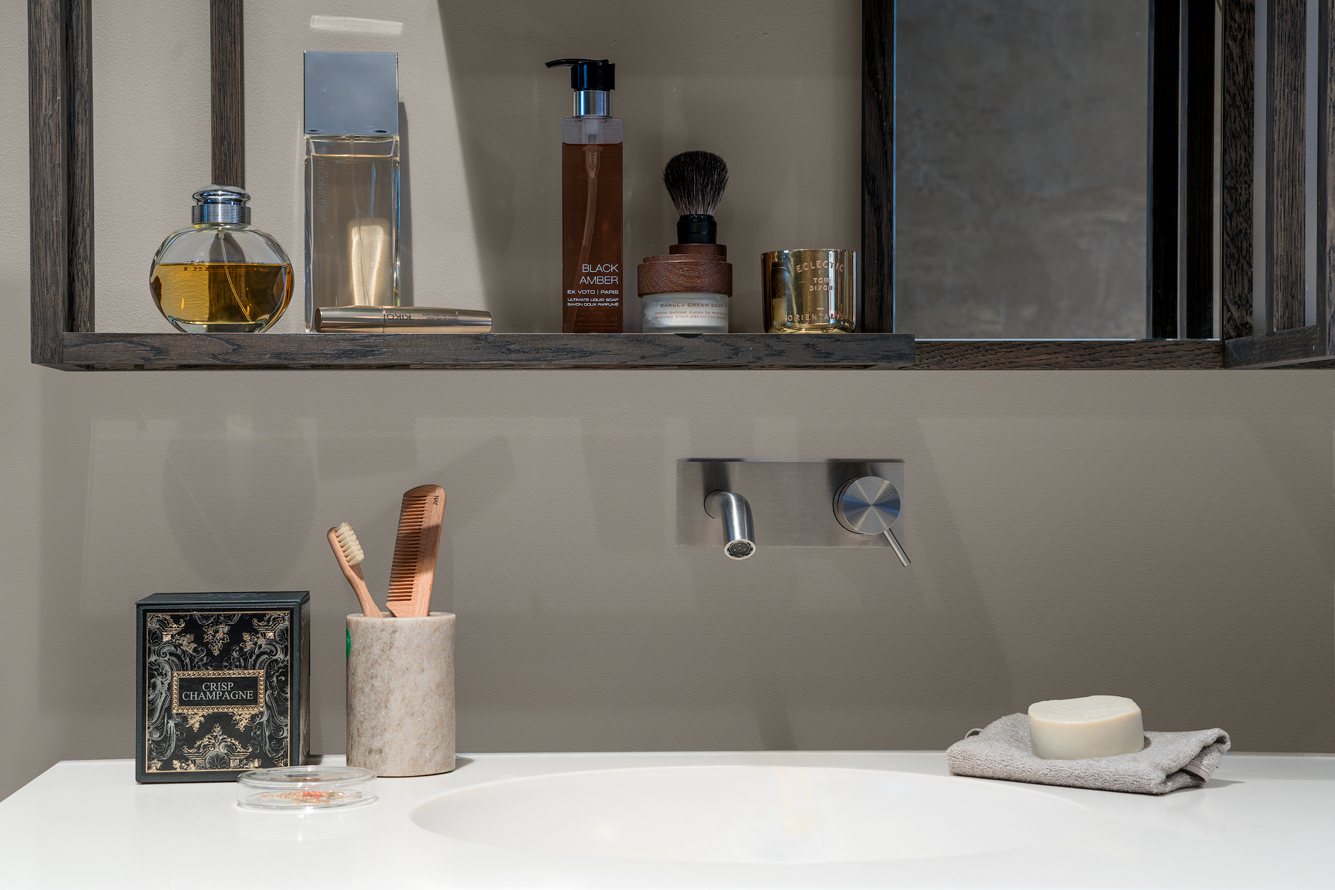 Bathroom with a medicine cabinet that suits with its interiors
