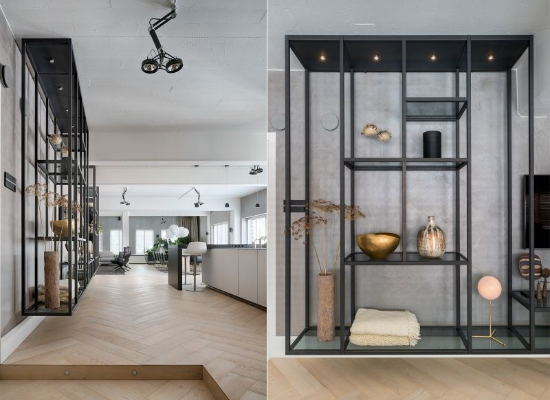 Large cabinets integrated against the walls