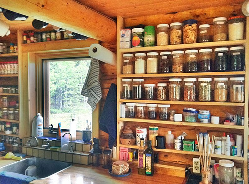 Wooden shelving for keeping fruit jam and jelly cans