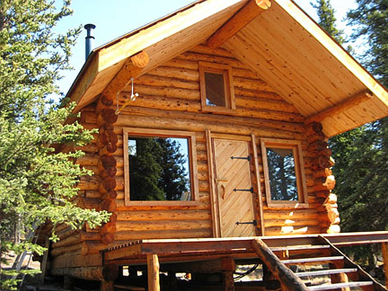 Log Cabin among the Taiga Forest