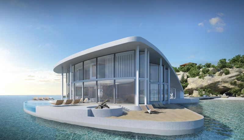 The deck space has a artificial beach, infinity pool and a hot tub and
