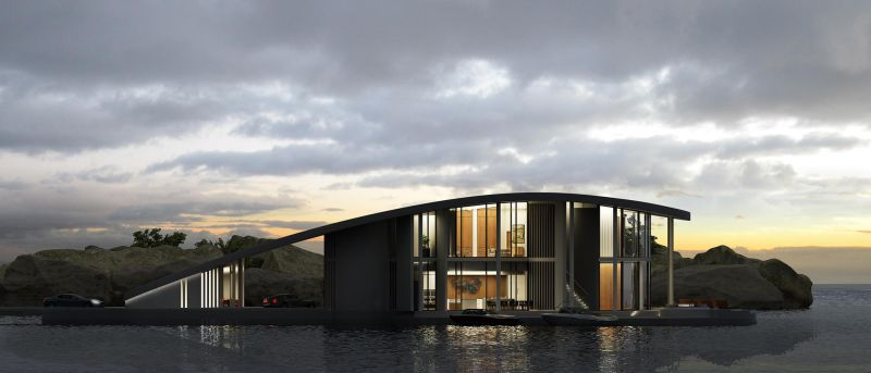 Night view of the floating house