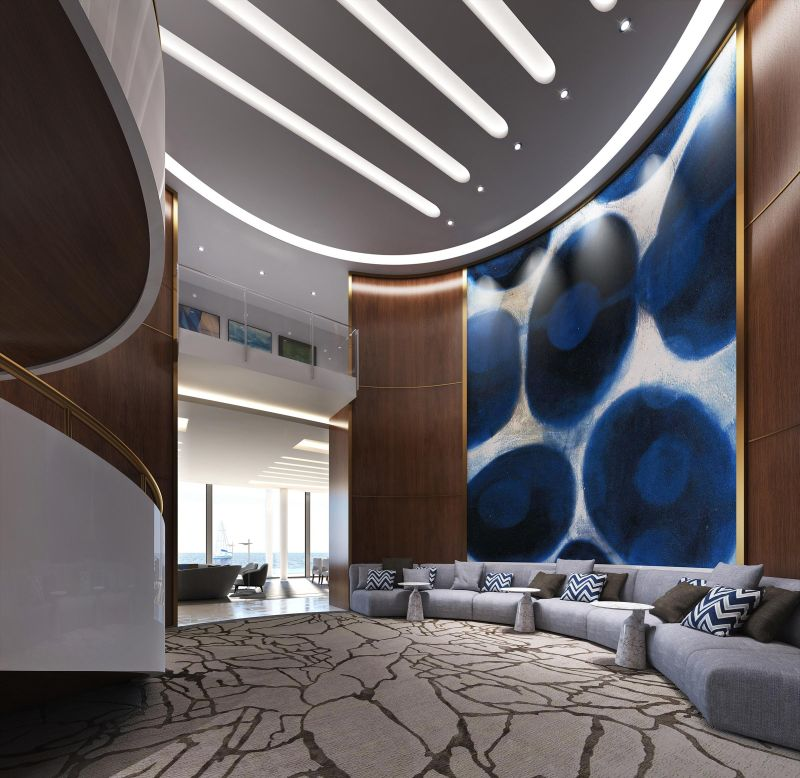 Spacious lounge with attractive interiors