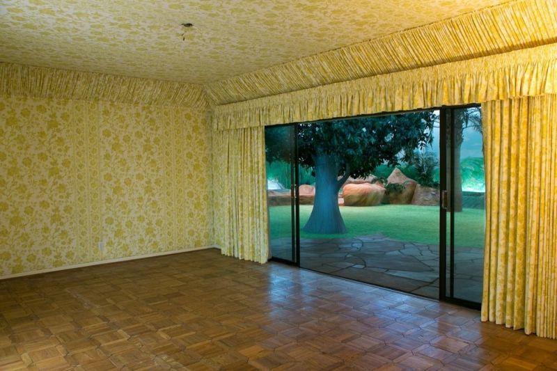 Decorative drapes with sliding glass doors