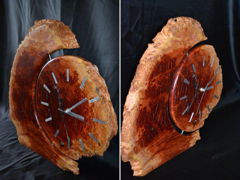A rustic burl wall clock by Wesley Inglis