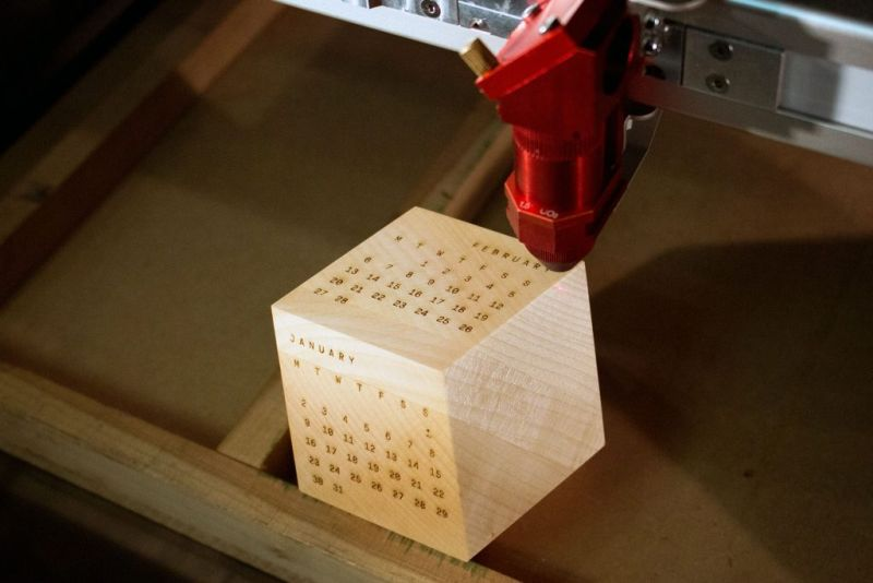 Dodecal is laser-printed wooden block calendar_1