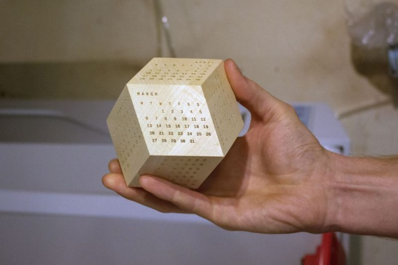 Dodecal is laser-printed wooden block calendar_3