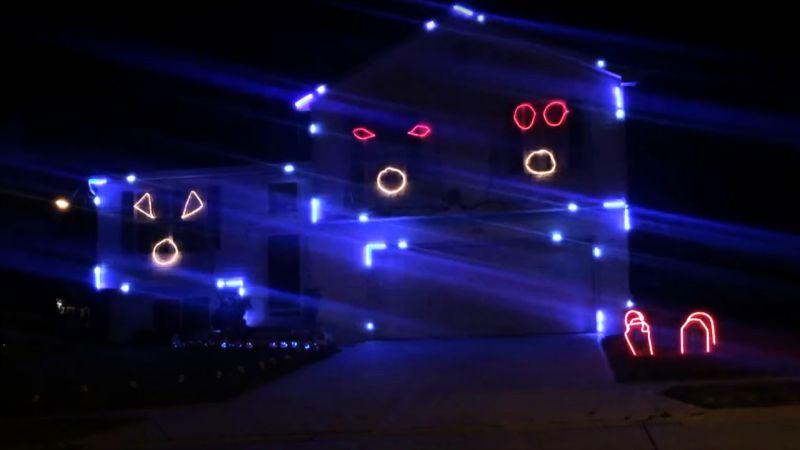 Go Cubs Go Halloween Light Display