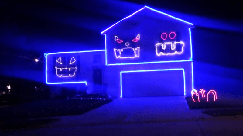 Go Cubs Go Halloween Light Display